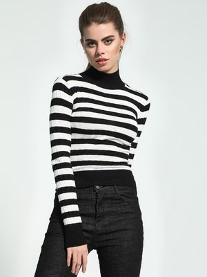 KOOVS Horizontal Stripe High Neck Pullover