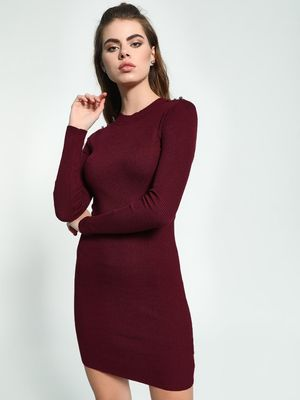 KOOVS Shoulder Button Knitted Bodycon Dress
