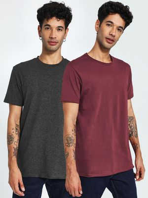 KOOVS Basic Crew T-Shirt (Pack Of 2)