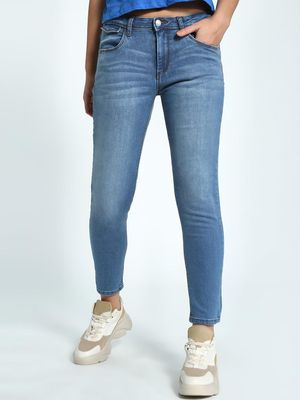 Flying Machine Light Wash Cropped Skinny Jeans