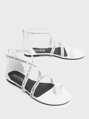 KOOVS Next Level Tape Print Flat Sandals