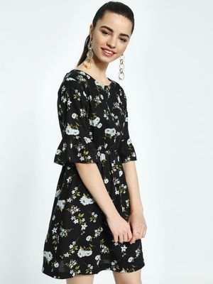 KOOVS Floral Print Mini Skater Dress