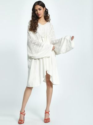 The Paperdoll Company Lace Volume Sleeve Kimono Dress