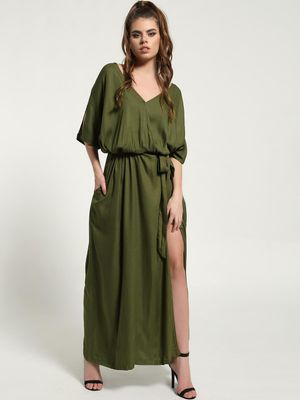 The Paperdoll Company Belted Wrap-Over Slit Maxi Dress