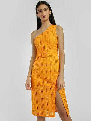 KOOVS One Shoulder Broderie Midi Dress