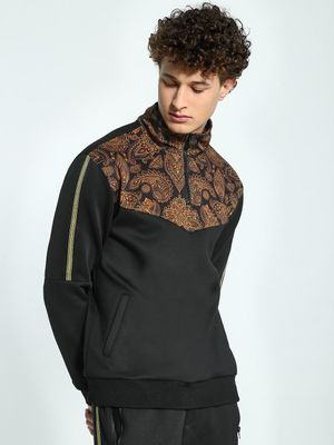 KOOVS Paisley Print Panel Zip-Up Sweatshirt