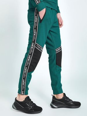 KOOVS Contrast Panel Text Tape Joggers