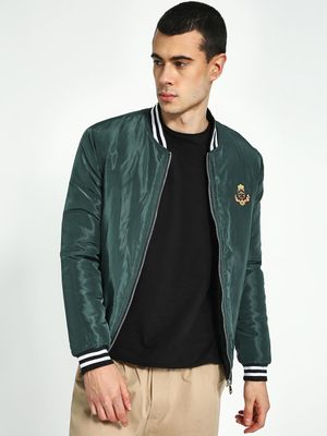 KOOVS Badge Applique Varsity Bomber Jacket