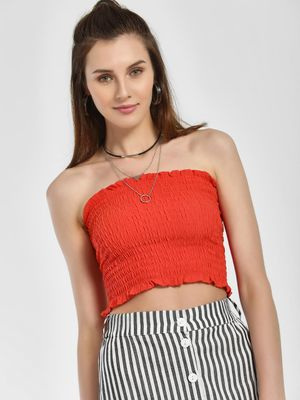 New Look Shirred Effect Cropped Bandeau Top