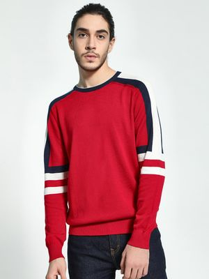 Akiva Colour Block Sleeve Knitted Pullover