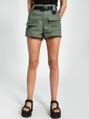 KOOVS Buckled Utility Pocket Shorts