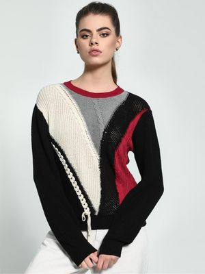 Akiva Colour Block Cable Knit Pullover