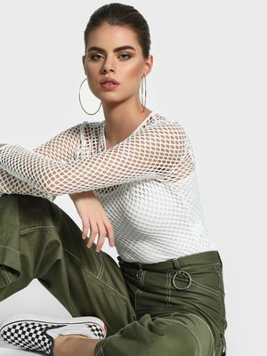 KOOVS Mesh Long Sleeve Bodysuit