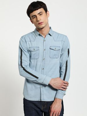 TRUE RUG Contrast Stripe Washed Denim Shirt