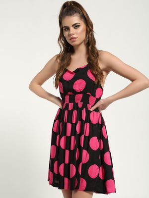 MIWAY Polka Dot Halter-Neck Skater Dress