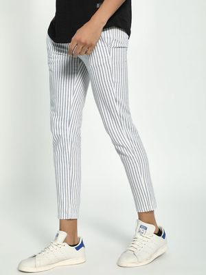 Spring Break Vertical Stripe Cropped Drawcord Trousers