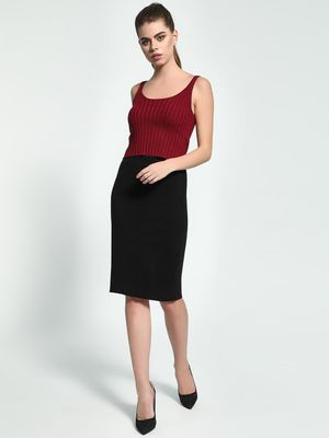 Akiva Split Hem Ribbed Pencil Skirt