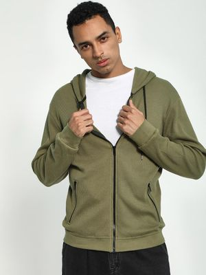 KOOVS Waffle Knit Hooded Sweat Jacket