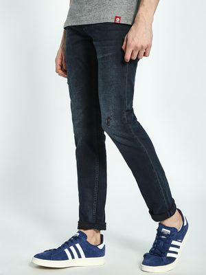 Celio Dark Wash Distressed Skinny Jeans