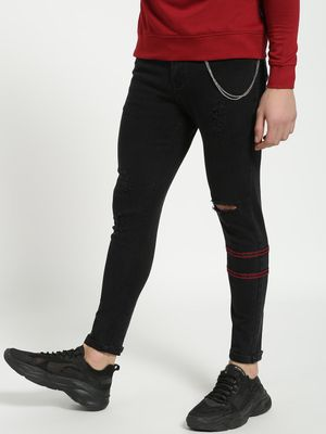 TRUE RUG Distressed Contrast Binding Skinny Jeans