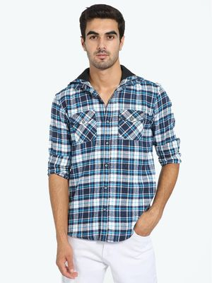 TRUE RUG Woven Flannel Check Hooded Shirt