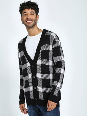 KOOVS Flecked Check Monochrome Cardigan