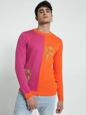 KOOVS Colour Block Skull Print Sweater
