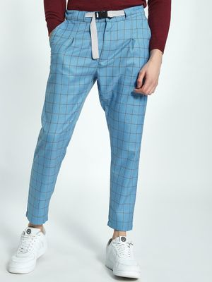 KOOVS Windowpane Check Buckle Belt Trousers