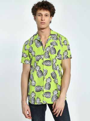 AMON Pineapple Print Cuban Collar Shirt