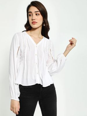Kisscoast Lace Insert Flared Blouse