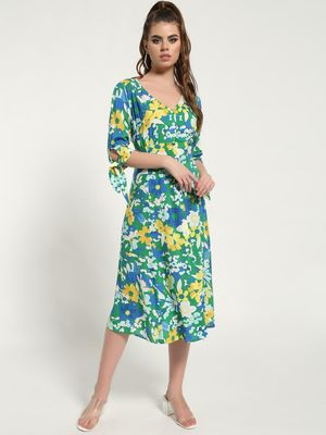 Kisscoast Floral Print Button-Down Midi Dress