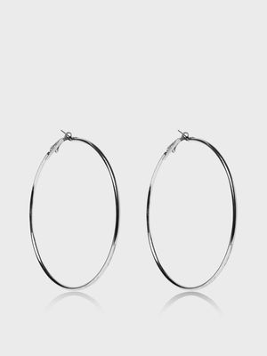 Funky Fish Silver Tone Hoops