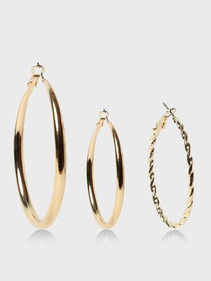 Funky Fish Geometric Shaped Gold-Tone Earrings Set
