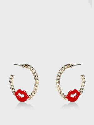 Funky Fish Lip Detail Chain Hoops