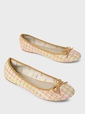 Funky Fish Bow Detail Contrast Weave Ballerinas