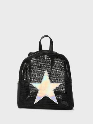 Funky Fish Holographic Star Patch Mesh Backpack