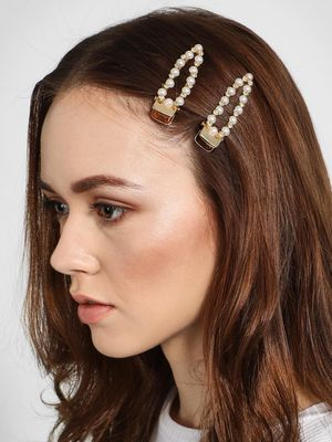 Funky Fish Pearl & Diamante Embellished Hair Clips (Set of 2)