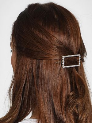 Funky Fish Rectangular Pearl Embellished Hair Clip