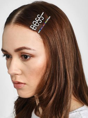 Funky Fish Boss Text Diamante Embellished Hair Clips (Set of 2)