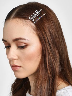 Funky Fish Star Text Diamante Embellished Hair Clips (Set of 2)