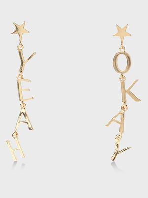 Funky Fish Text & Star Detail Drop Earrings