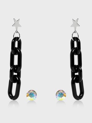 Funky Fish Stud & Chain Detail Drop Earrings Set