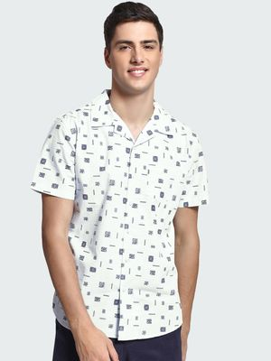 Spring Break Stamp Print Cuban Collar Shirt