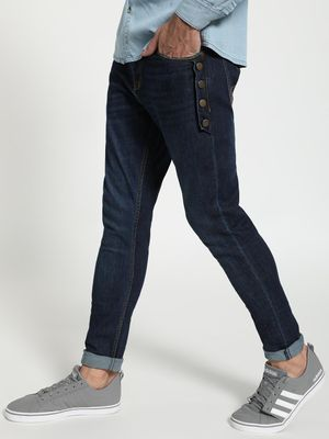 TRUE RUG Mid Wash Side-Button Slim Jeans