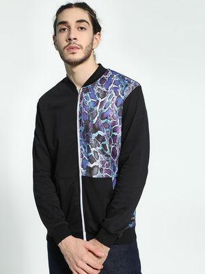 Fighting Fame Snakeskin Print Patch Jacket