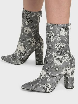 Intoto Floral Jacquard Block Heel Boots