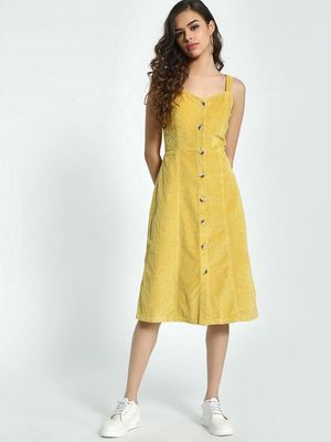 KOOVS Corduroy Button-Down Midi Dress