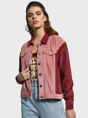 KOOVS Colour Block Corduroy Jacket