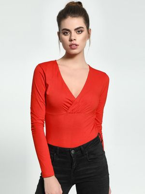 KOOVS Basic Overlap V-Neck Bodysuit
