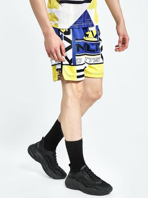 K ACTIVE KOOVS Spliced Text Print Airtex Shorts